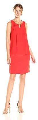 Calvin Klein Women's Sleeveless Pleat Dress with Chain