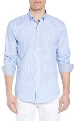 Bugatchi Shaped Fit Floral Jacquard Stripe Sport Shirt
