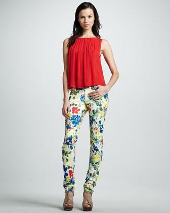 Alice + Olivia Floral-Print Skinny Jeans