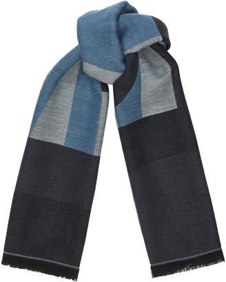 Jimmy Choo JUDE Sky Grey Wool Branded Scarf