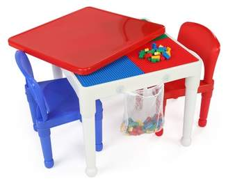 Tot Tutors 3pc Kids 2-in-1 Plastic Building Blocks Compatible Activity Square Table and Chair Set