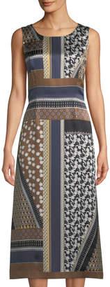 Lafayette 148 New York Sebella Sleeveless Piazetta Patchwork Silk Midi Dress
