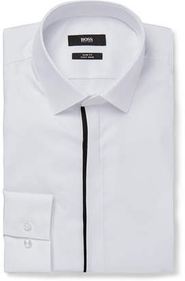 HUGO BOSS White Jamis Slim-Fit Cutaway-Collar Cotton Shirt