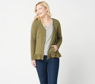 Denim & Co. French Terry Long-Sleeve V-Neck Jacket w Ruffle Hem