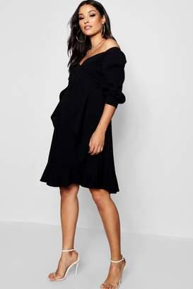 boohoo Maternity Bardot Ruffle Skater Dress