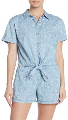 Vince Camuto White Floral Tie Front Button Up Shirt