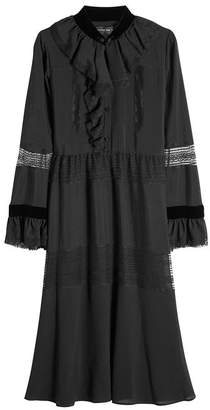 Etro Silk Dress with Ruffles, Lace and Velvet