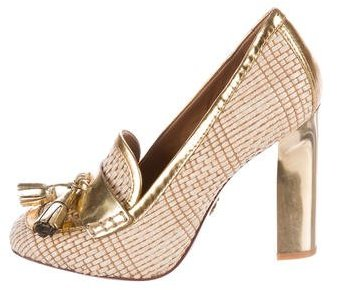 Tory Burch Tory Burch Metallic Square-Toe Pumps