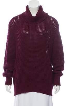 St. John Open-Knit Turtleneck Sweater Plum Open-Knit Turtleneck Sweater