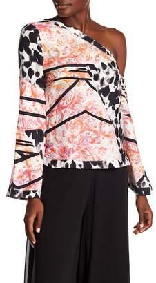 Nicole Miller Silk Asymmetrical Sleeve Silk Blouse