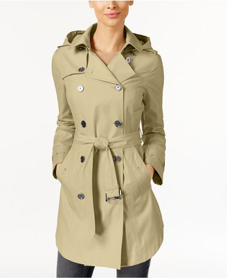 MICHAEL Michael Kors Hooded Double-Breasted Belted Raincoat $200 thestylecure.com