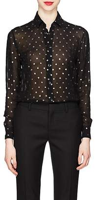 Saint Laurent Women's Glitter-Dot Georgette Blouse - Black