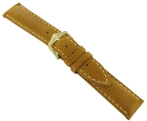 Hirsch 18mm Traveller Honey Brown Genuine Leather Stitched Padded Watch Band