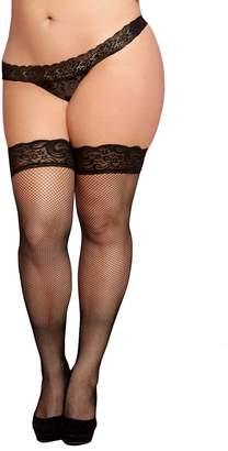 Seven Til Midnight SEVEN 'TIL MIDNIGHT Women's Plus Fishnet Thigh High with Silicone Top