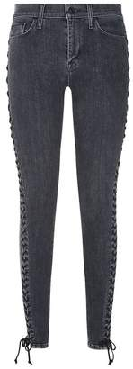 Hudson Stevie Mid-Rise Skinny Lace-Up Jeans