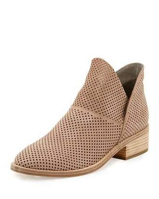Eileen Fisher Leaf Perforated Leather Bootie, Neutral Pattern $275 thestylecure.com