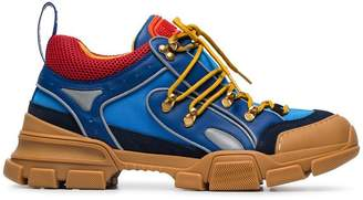 Gucci blue, orange and brown flashtrek leather sneakers