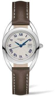 Longines Ellipse Dial Stainless Steel & Leather Strap Watch