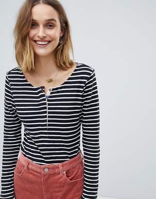 Maison Scotch Club Nomade Striped Long Sleeved Grandad T-Shirt