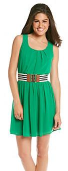 Amy Byer A Byer A. Byer Juniors' Green Chiffon Belted Dress