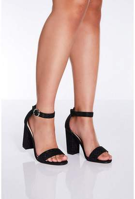 Quiz Black Glitter Block Heel Sandals