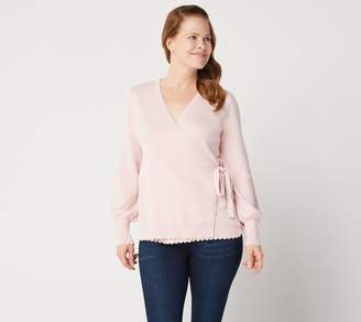 Isaac Mizrahi Live! Long Bishop Sleeve Faux Wrap Ballet Sweater