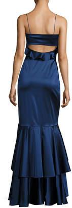 Sachin + Babi Anna Sleeveless Stretch Satin Ruffle Gown