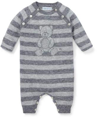Ralph Lauren Stripe Knit Bear Coverall, Size 3-9 Months
