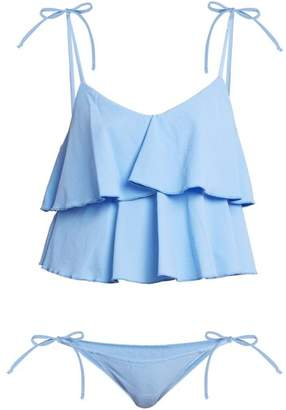Lisa Marie Fernandez Imaan Ruffle Bikini - Womens - Blue