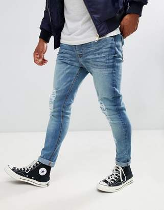 Brave Soul Skinny Fit Mid Wash Ripped Jeans