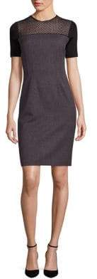 Elie Tahari Josephine Geometric Lace Yoke Sheath Dress