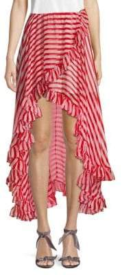 Caroline Constas Striped High-Low Silk Skirt