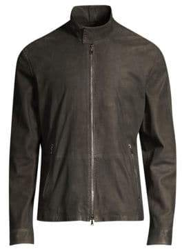 John Varvatos Zip-Up Goat Leather Jacket