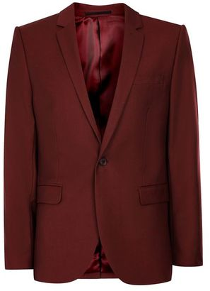 Burgundy Skinny Fit Suit Jacket $220 thestylecure.com