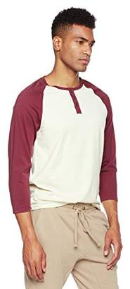 Rebel Canyon Young Men's Long Sleeve Cotton Baseball Henley Top Grey/Burgundy