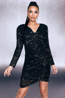 boohoo Premium Sequin Ruched Side Bodycon Dress