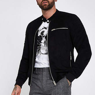 River Island Black faux suede racer jacket