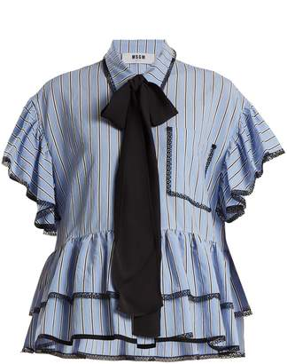MSGM Lace and ruffle-trimmed striped shirt