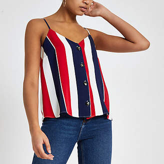 River Island Womens Red stripe button front cami top