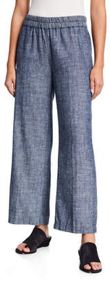 Eileen Fisher Denim Chambray Pull-On Ankle Pants