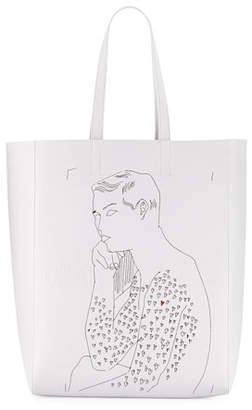 "Calvin Klein x Andy Warhol Men's ""Resting Boy"" Leather Tote Bag"