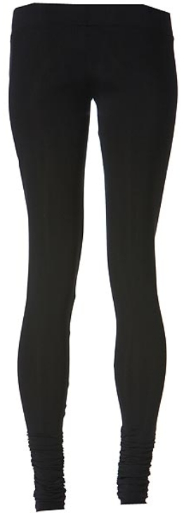 LnA Olivia Ripped Gathered Bottom Leggings in Black Licorice