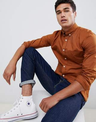 Celio Long Sleeve Oxford Shirt In Tobacco
