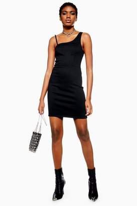 Topshop Womens Asymmetric Denim Shift Dress