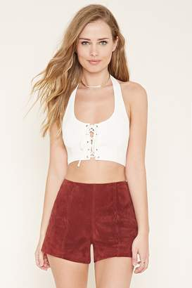 Forever 21 Lace-Up Cropped Halter Top