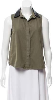 Rag & Bone Leather Collar Sleeveless Top
