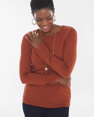 Petite Button-Sleeve Pullover