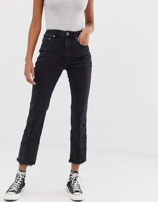 Free People Cutwork cigarette jeans