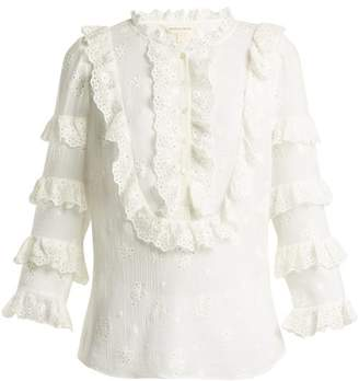 Rebecca Taylor Dree Broderie Anglaise Cotton And Silk Blend Top - Womens - White