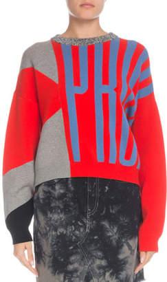 Proenza Schouler PSWL Knit Logo Colorblock Crewneck Pullover Sweater